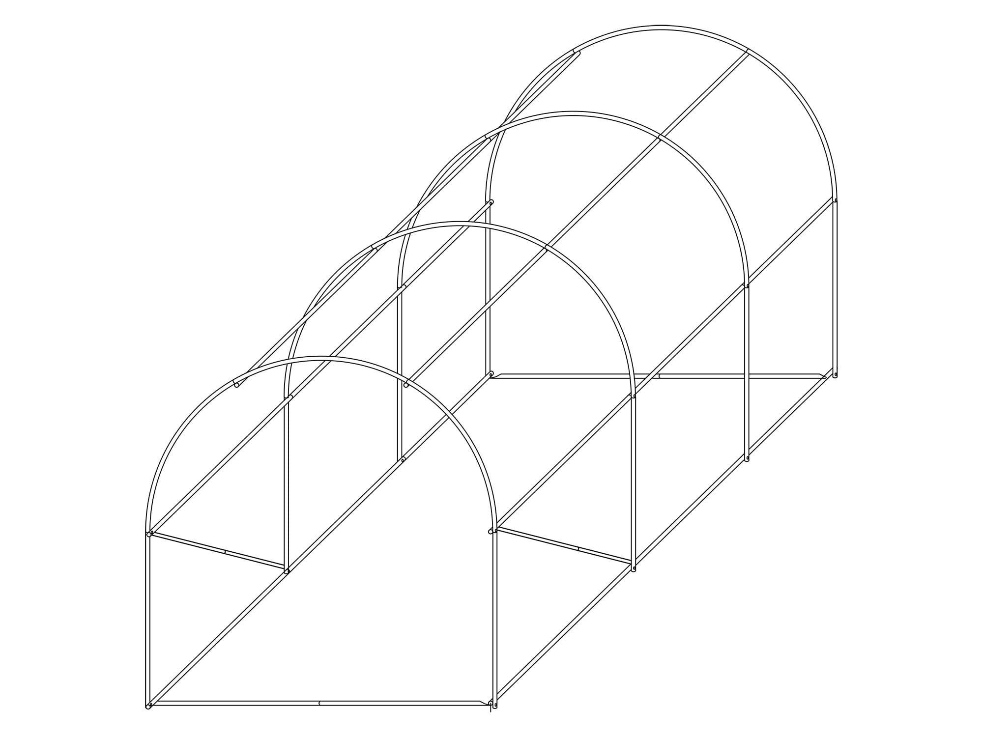 Konstrukcja stelażu tunelu foliowego 2x3m