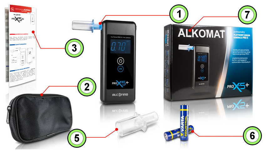 Alkomat AlcoFind PRO X5 PLUS - zestaw